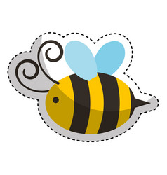 Cute bee flying icon vector