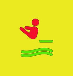 Diver swimmer trampoline springboard sportsman vector