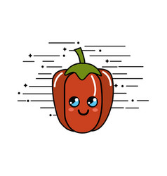 Emblem kawaii happy pepper vegetable icon vector