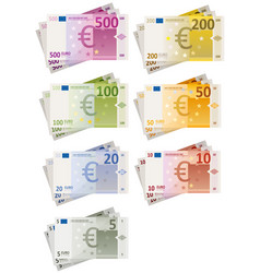 Euro bills set vector