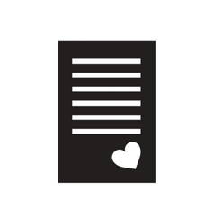 Flat icon in black and white love letter vector