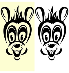half-transparent cartoon rabbit silhouette vector image