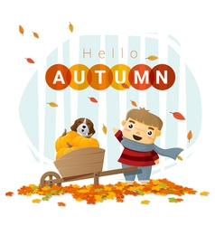 Hello autumn background with little boy 3 vector