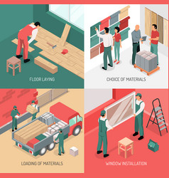 isometric renovation design concept vector image vector image