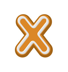 letter x gingerbread peppermint honey-cake font vector image