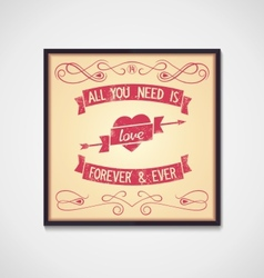 Love quote with design signs grunge vector