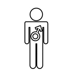 Male figure with symbol isolated icon vector