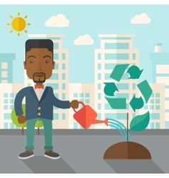 Man watering a recycling tree vector image vector image