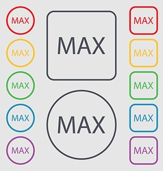 Maximum sign icon symbols on the round and square vector