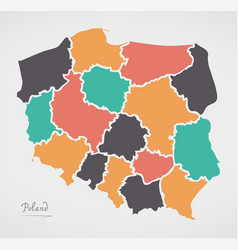 poland map with states and modern round shapes vector image vector image