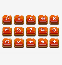 red wood buttons with different menu elements vector image vector image