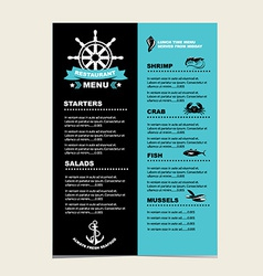 Seafood cafe menu grill template design vector image vector image