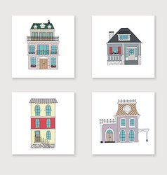 Set of hand drawing vintage houses vector