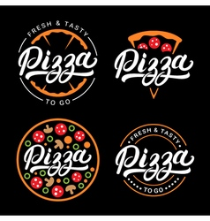 Set of pizza hand written lettering logo label vector image vector image