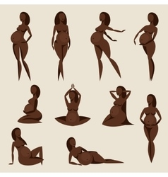 Set of stylized silhouettes pregnant women vector image vector image