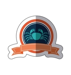 Sticker circular borders with crown branch with vector