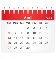 Stylish calendar page for April 2014 vector image