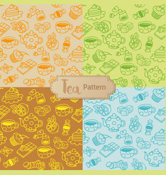 tea seamless pattern cartoon vector image