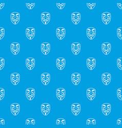 vendetta mask pattern seamless blue vector image vector image