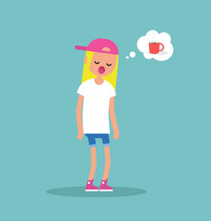 young exhausted character yawning and thinking vector image
