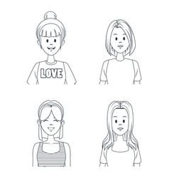 young girls cartoon vector image