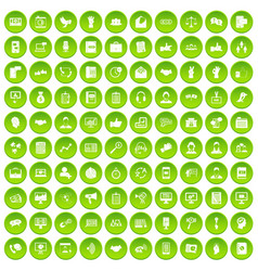100 dialog icons set green circle vector