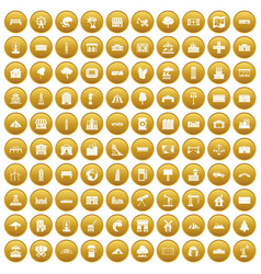 100 landscape element icons set gold vector