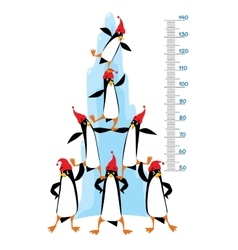 Meter wall with funny penguins near the ice rock vector