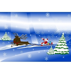 Santa claus with christmas deer and presents vector