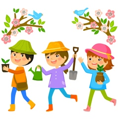 Kids planting trees vector