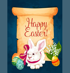Easter greeting card paper scroll with egg bunny vector
