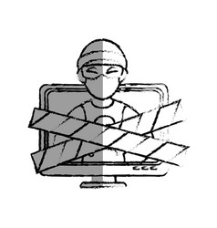 Monochrome blurred contour with lcd monitor with vector