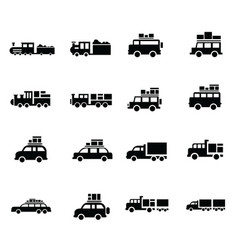Carand train logistics and transport icons vector