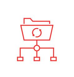 Data synchronization with thin line folder vector