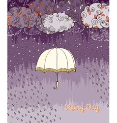 Doodles rainy day weather poster vector