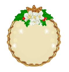 Christmas decoration round frame with flowers vector