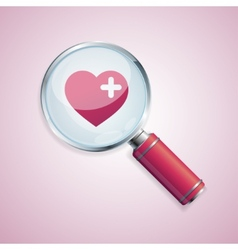 Dating concept loupe and heart vector