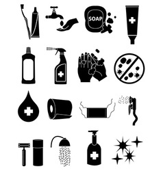 Hygiene healthcare icons set vector