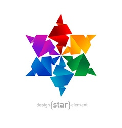 Rainbow origami star on white background vector