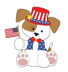 Cute puppy fourth of july vector