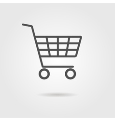 Black shopping trolley with shadow vector