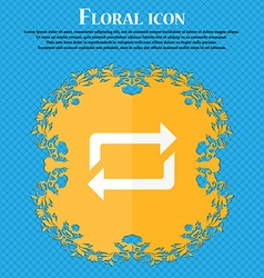 Repeat icon floral flat design on a blue abstract vector