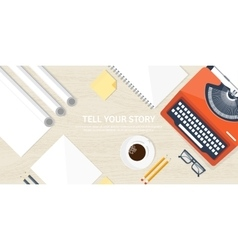 Flat typewriter tell your vector
