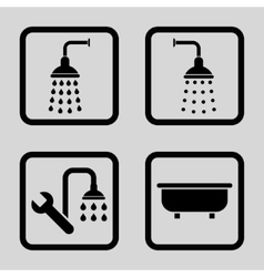 Shower bath flat squared icon vector