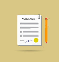Agreement contract and pen with signature vector