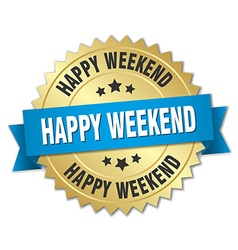 Happy weekend 3d gold badge with blue ribbon vector