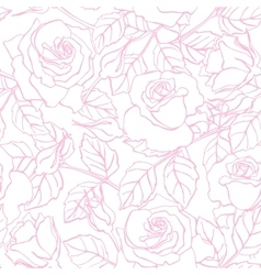 Delicate line rose pattern vector