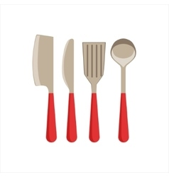 Asian knife sarp knife spatula and ladle set of vector