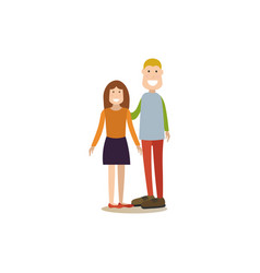 brother and sister in flat vector image