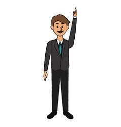 business man in suit clothes standing character vector image